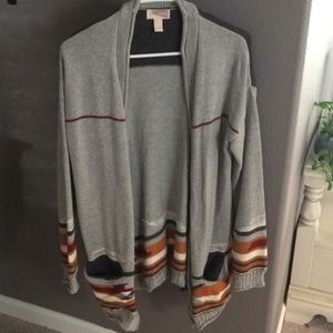 Oversized gray tribal cardigan